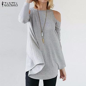 ZANZEA Women Tops 2017 Autumn Blusas Ladies Sexy Tunic Off Shoulder Long Sleeve Pullover Casual Loose Blouses Shirts Plus Size