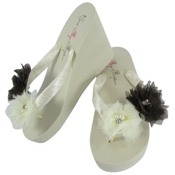 Ivory Wedge Flip Flops with Black Tulle Pearl & Rhinestone Flowers