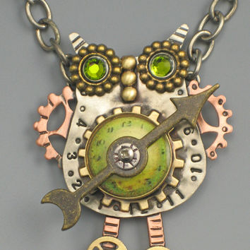 Steampunk Owl Necklace, Owl Pin, Steampunk Jewelry, Owl Necklace, Owl Jewelry - RP0308NK