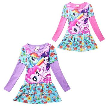 My Kids Clothes Spring Autumn Cartoon Girls Little Pony Costumes Party Dress Designer Kids Dresses Girls Kids 10 Years