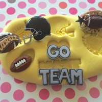 FOOTBALL Set Silicone MOLD - Helmet Go Team Sign Mold , Cake Pops, Cupcake Topper, Cookie Decoration, Resin Clay Mold, Fondant Mold, Soap