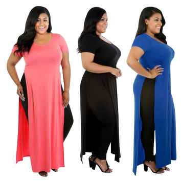 Sexy Womens Open Side High Split Slits Long Maxi Dress Plus Size Blouse Shirt