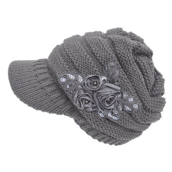 Fashion & Ctue Women's Cable Knit Visor Hat With Flower Accent Tops Hats ing JFY66