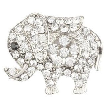Pave Crystal Stone Metal Elephant Pin And Brooch 33