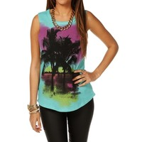Mint Palm Tree Sweater Tank Top