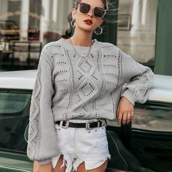 Autumn and winter hollow pullover sweater commuter fashion knit sweater