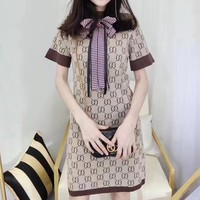 """Gucci"" Retro Fashion Multicolor GG Letter Logo Bow Short Sleeve Knit Mini Dress"