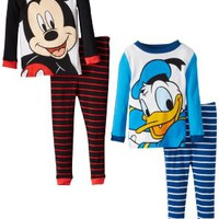 Disney Little Boys' Mickey And Donald 4 Piece Pajama Set, Multi, 4T