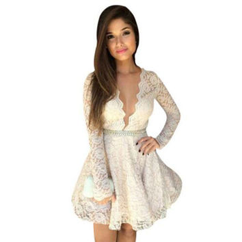 2016 New White Lace Long Sleeve Dress Summer Women Deep V  Neck Dress Fashion Lady Sexy  Mini prom Party Dresses