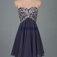 Short light navy chiffon homecoming dress,2015 cute women dresses for party,cheap prom gowns with sequins.