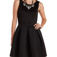 Black Backless Pleated Skater Dress by Charlotte Russe