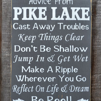 Advice From A Lake Sign Custom Lake House Decor Wood Plaque Vintage Rustic Country Wall Art Poem