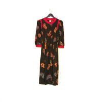 Button Down Long Sleeve Vintage Dress With Shoulder Pads, Colorful Abstract Pattern On Black Background, Wide Sleeves