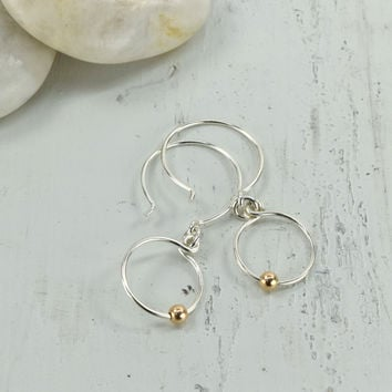 Picot Silver and Rose Gold Earrings