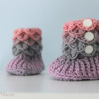 Crocodile Stitch Baby Booties, Size 0-6 Month, Baby Girl Rainbow Slipper Boots