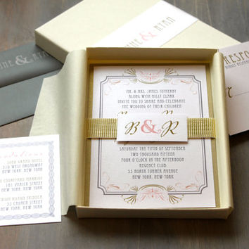"Art Deco Elegant Box Wedding Invitations, Luxury Gold, Elegant, Old Hollywood - ""Art Deco Love White Metallic Box Invite"" Sample"