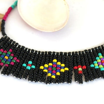 Tribal necklace - Seed bead colorful native necklace - multi color geometric ethnic necklace statement, black, yellow, red, turqoise beads