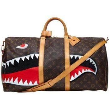 PEAPYD9 Customized 'Shark' Vintage Louis Vuitton Monogram Keepall Bag