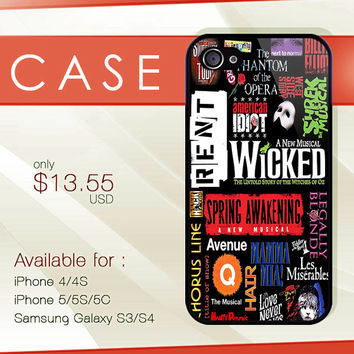 Broadway Musicals Collage hard plastic available for iphone 4/4s,5/5s/5c and samsung galaxy S3/S4/S5 case
