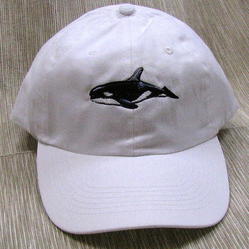 killer whale baseball cap embroidered white