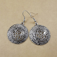 Ethnic Tibetan silver bohemian circle earrings