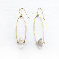 Tourmaline Quartz and Brass Earrings