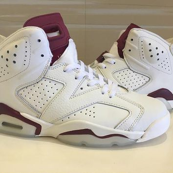 Air Jordan Retro 6 Maroon Basketball Shoes Men Women 6s Maroon White Red Athletics Spo