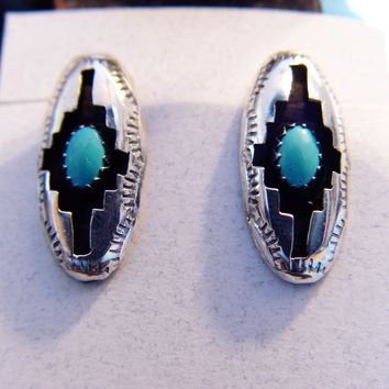 Genuine Turquoise  Sterling Silver Navajo Post Earrings