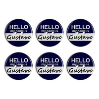 Gustavo Hello My Name Is Plastic Resin Button Set of 6