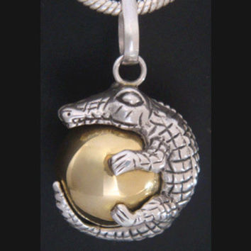 Harmony Ball with Artisan Designed Crocodile in Solid 925 Sterling Silver on a Brass chime ball, example of nature in Balinese culture 301
