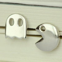 925 Sterling Silver Pac-Man and Ghost Arcade Game Silver Stud Earrings