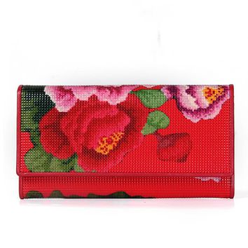 Women's Wallet  Leather Floral Print Long Ladies Purses Fashion Black Red  Wallets Card Holder