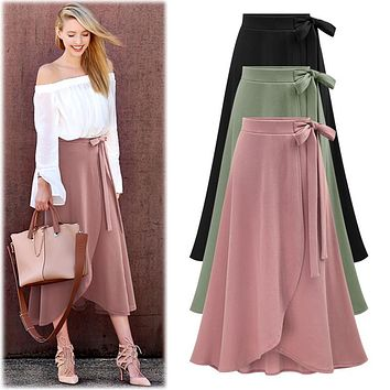 Skirts female irregular Elastic wais plus size XL- 5XL 6XL skirts summer high waisted loose sheds skirt womens Bowknot skirts