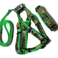 Real Camo Neon Green Pet Set with Leash, Harness and Customized Collar