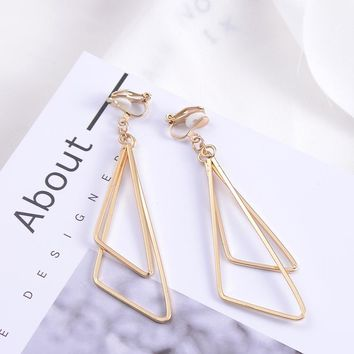 SUKI Geometric Ear Clip Earrings For Women Girls Trendy Metal Double Triangle Golden Pendant No Ear Hole Earring Simple Jewelry