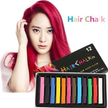 temporary color hair chalk for hair 12 Pcs set black pink green Fashion Non-toxic Temporary Color Hair Chalk Dye Pastels