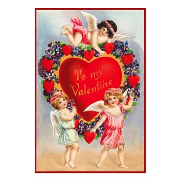 Victorian 3 Cupids with Heart and Flowers from Antique Card Counted Cross Stitch Pattern