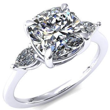 Robyn Cushion Moissanite 4 Claw Prong 2 Rail Basket Pear Sidestones Inverted Cathedral Engagement Ring