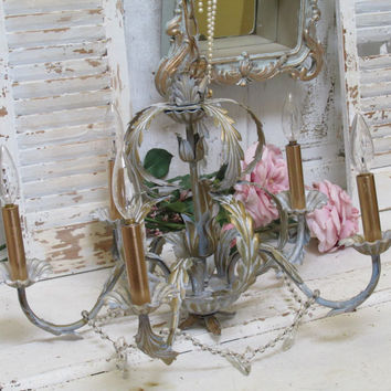 French blue gold tole chandelier up cycled lighting crystal garland swag