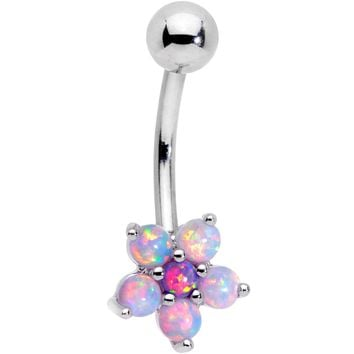 Pink Faux Opal Five Petal Flower Belly Ring
