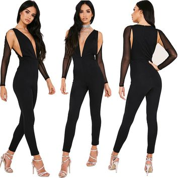 Deep V Black Jumpsuit with Mesh Sleeves