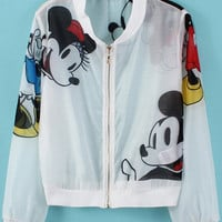 White Sheer Mesh Cartoon Character Printed Crop Jacket