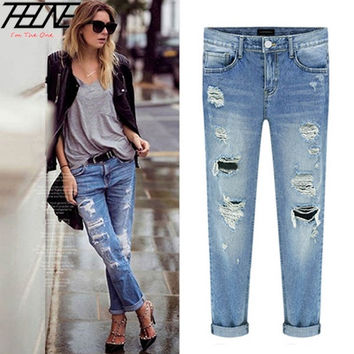 Spring New Women Jeans Ripped Holes Fashion Straight Full Length Mid Waist Famale Washed Denim Pants  [7672407878]
