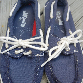 Vintage 80s Levis Navy & White Nautical Preppy Boat Shoes Canvas Deck Shoes Topsiders Size 6