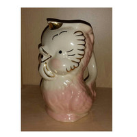Vintage CHICKADEE Bird PITCHER SHAWNEE Pottery Chicken Gravy Boat Jug 50s Farmhouse Chic Decor Chick Creamer Pink Feather Housewarming Gift
