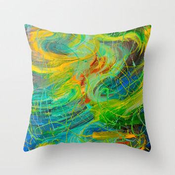 NAUTICAL GALAXY - Beautiful Aquatic Blue Green Ocean Universe Abstract Acrylic Painting Gift Decor Throw Pillow by EbiEmporium | Society6