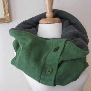 Cowl with Buttons Upcycled Cotton Reversible by SewEcological