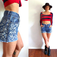 Bleached Lace Print High Waisted Denim Cut Off Jean Shorts 28
