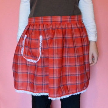 Vintage 1980's Red Plaid Lightweight Half Apron, Vintage Handmade Red Plaid Half Apron With Pocket And Lacy Trim