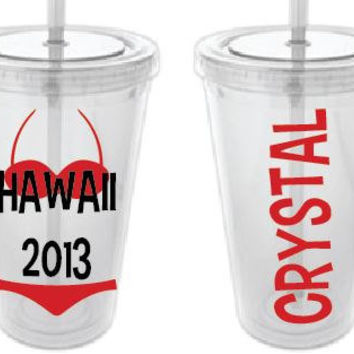 Personalized Summer Tumbler 20 oz with Beach Theme and Name